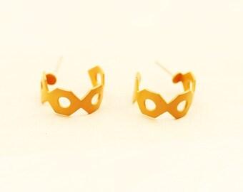 Geometric Hoops Yellow, Enamel Hoops, Enamel Earrings