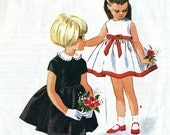 Vintage 60s McCalls 7551 Girls High Waisted Dress with Full Skirt Sewing Pattern Size 5