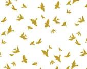 Bird Fabric, Flight Fabric, Brambleberry Ridge, White, Gold, Metallic, Birds, Michael Miller, Baby Boy, Girl, Unisex, In Custom Cuts