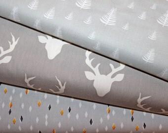Grey, Gray, Fabric, Bundle, Neutrals, Designer, Pine,Trees, Woodland, Buck,Deer, Forest, Cabin, Modern,Nature, Rustic, Cloud9, ChooseYourCut