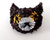 cat textile brooch - tweedy messy kitty