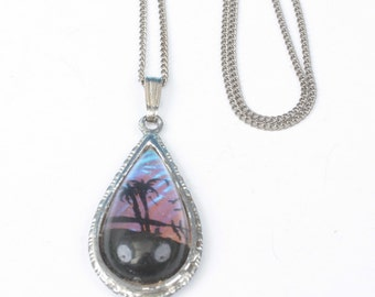 Butterfly Wing Pendant Necklace Tropical Scene Palm Trees Vintage