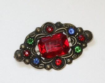 CIJ Sale Czech Rhinestone Pin Multi Color Red Green Blue Stones Vintage