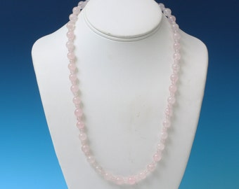 Rose Quartz Bead Necklace Vintage Pantone Color of Year 2016