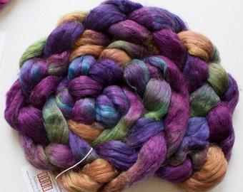 Superwash wool & Tencel Roving, 60/40, 4 oz. - Vineyard