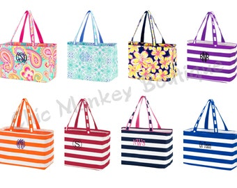 Collapsible Ultimate Size Market Totes in 8 Pretty Colors from Solids to Prints....FREE MONOGRAMMING ... Great Gift Idea