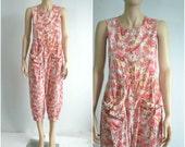 80s Vintage Laura Ashley Playsuit Jumpsuit Romper 90s Cotton Floral Print - small