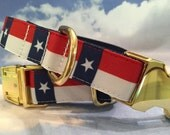 Patriotic Dog Collar with Stars and Stripes (Shown with Brass Upgrade) Military Look In Sizes M - L - XL