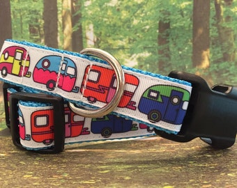 "Camper or RV Dog Collar 1"" and 3/4""- Style 3, Sizes XS, S, M, L, XL"