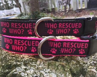Who Rescued Who Dog Collar In Sizes M - L - XL - Choice of Color and Buckle