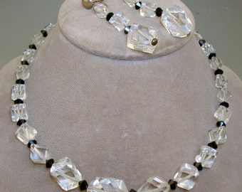 Faceted Crystal Black Bead Necklace Earrings Set