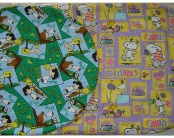 PEANUTS GANG and SNOOPY Reversible Table Runner St Patricks and Easter Theme