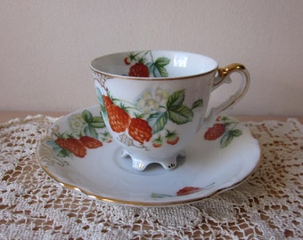 Ucagco Raspberry Pattern Footed Demitasse Tea Cup and Saucer - Made in Occupied Japan