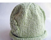 SALE 30% OFF - Baby Hat Hand Knit Rolled Brim Flower Cloche, Mint Green Pastel