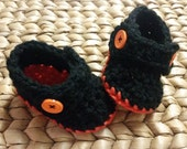 Crochet Baby Motorcyle Boots - Black and Orange 3-6 Months - free shipping included