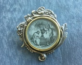 Antique French Mourning Scene Floral Brooch