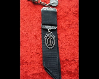 Antique French Mourning Ribbon and Silver Medal Fob