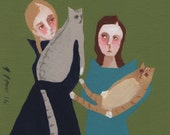 "Original painting, 5x7, ""Diet Day"", Portrait, folk art, minimalist, scandinavian"