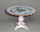 Lacy Pink Pedestal Rose Cake Plate