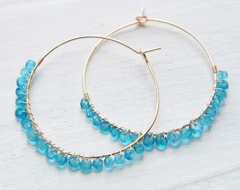Blue  Hoop Earrings, London Blue Topaz Earrings, Wire Wrapped Hoop, Large Gold Hoop