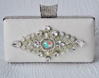 Wedding Clutch, Purse, Swarovski Ivory Lambskin, Austrian Rhinestones, Free SHIpping, Luxury, TSARINA TianaCHE