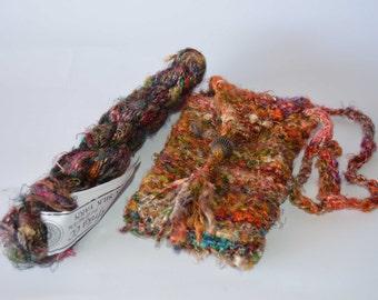Knitted sunglass eyeglass case banana silk multi-colored mill waste yarn made in India unusual novelty yarn small bag