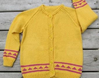 New hand made soft knit girls sweater cardigan sz 8-10 yellow & rose