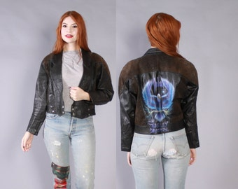 Vintage 80s Leather JACKET / Cropped Black Custom Painted Harley Davidson Motorcycle Jacket xs-m