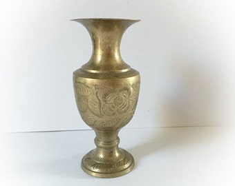 ON SALE Vintage Brass Floral Etched Vase