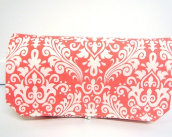 Coupon Organizer / Budget Organizer Holder  - Attaches to Your Shopping Cart -  Coral Damask