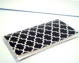Checkbook Cover, Checkbook Holder, Cash Holder Black and White Lattice or Pick Your Color