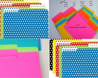 Pack of 10 Colorful  4 x 6 Mini Folders  For Coupon Organizer