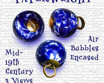 Button--ONE Scarce Small Mid-19th C. Cobalt Spatter Pin-shank Paperweight
