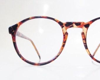 ON SALE Vintage Round Eyeglasses Womens 1980s Dark Amber Tortoiseshell P3 Oversized Circular 80s Eighties Indie Hipster Chic Sunnies Sunglas