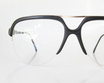 SALE Black Matte Aviator Mens Guys Homme 1980s 80s Oversized Midnight Obsidian Eyeglasses Eyeglass Frames Sunglasses Sunnies Vintage Hipster