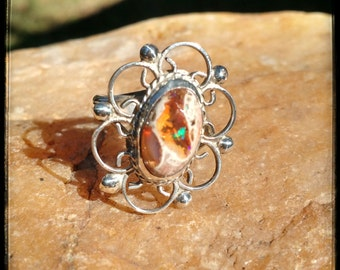 Vintage Mexican Fire Opal and Sterling Silver Flower / Floral Filigree Ring Size 7.5