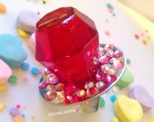 Ring Pop Resin Candy Jewelry - Strawberry - Resin Ring - Kitsch Kawaii