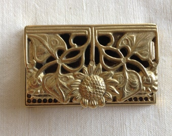 Elegant Brass Sunflower Inkwell
