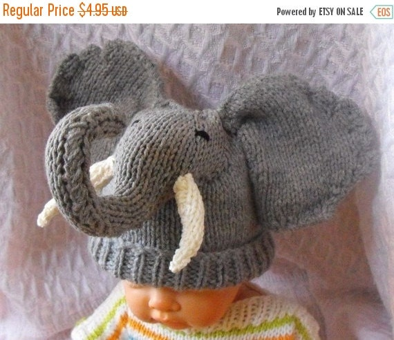 HALF PRICE SALE digital pdf file knitting pattern -madmonkeyknits Baby Big Ears Elephant Beanie Hat pdf download knitting pattern
