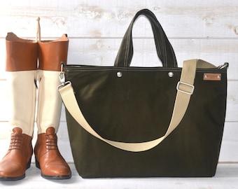 Canvas bag big Diaper bag Dark Forest Green Tote bag /Messenger bag / Weekender / Work bag /Men messenger / Travel bag Zipper 5 Pockets
