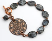Etched copper sun bracelet, solar diagram jewelry, metal etching, Norwegian moonstone beads, grey and black, 7 1/2 inches long