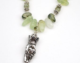 """Heart in hand necklace with green prehnite beads, semiprecious stone, 20 1/4"""" long"""