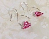 Heart Pink Swarovski Crystal And Silver Earrings