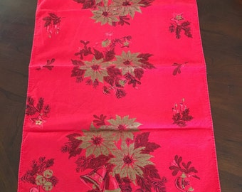 Vintage Christmas Dish Towel Red and Gold Tea Kitchen Poinsettia, Bells, Pine