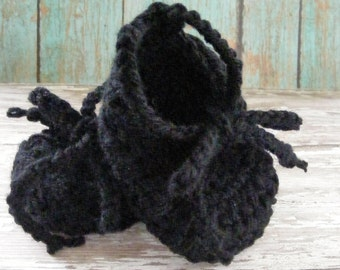 Black Baby Booties, Ballet Slipper Booties, Infant Girl Booties, Girl Baby Gift, Crochet Booties, Baby Shoes, Lace up Booties