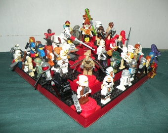 Handcrafted Wooden Star Wars Lego Minifigure Large Pyramid Display Shelf - Gloss Red with Red and Black 4X Lego Plates and Turntables