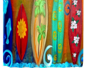 Surfboards shower curtain from my original art available in 2 sizes