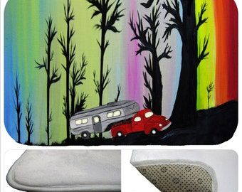 5th wheel trailer camper forest kitchen or  bathmat from my art
