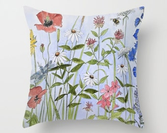 Wildflower Blue Sky Floor Throw Pillow with pillow insert 26 inch Flower garden