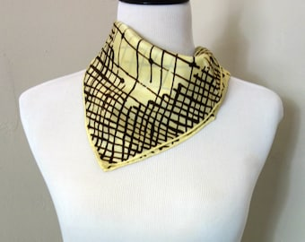 Vintage UK Scarf, 1970s Acetate Twill Scarf by Hammura in Buttery Yellow, Brown Crosshatch Pattern, British English Water Repellent Scarf
